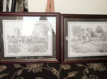 2 X LARGE FRAMED GLAZED PENCIL PRINTS EX COND VICKI COTTAGE SCENE & CHURCH SCENE